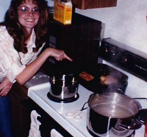 Sherri Wilson Johnson 1988 making fried chicken
